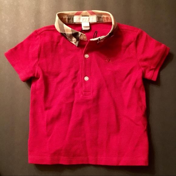 597c668f0c90a Burberry Other - Burberry Boys Mini William Check Collar Polo Shirt